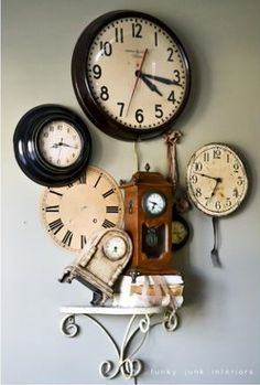 Different clocks style group. Unique wall decor