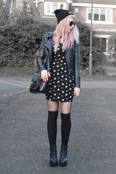 Biker jacket, Daisy dress, Satchel bag, Beanie hat, Sunglasses, Black tights, Long socks & Chunky boots