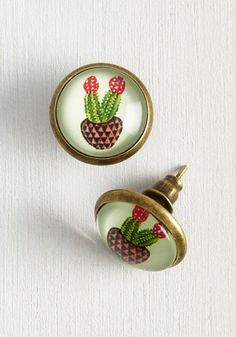 Cacti Dare Say Earrings. Professing that these glass dome earrings are the cutest accessories around, you strut through town showcasing their flair!  #modcloth
