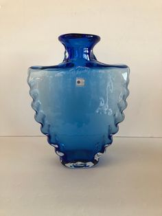 """Vintage Blue Blenko Glass Vase Hand Blown Glass Vase Made in USA 10 """" Tall Blue Glass Vase with Polished Pontil Unique Blue Art Glass Vase by SheBangArt on Etsy Blue Glass Vase, Glass Art, Blenko Glass, Fish Wall Art, Wall Candle Holders, Blue Art, Hand Blown Glass, Flower Vases"""