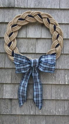 Blue Plaid Tan Rope Wreath — First Harbor Company #homedecorrope #ropecrafts Christmas Mesh Wreaths, Deco Mesh Wreaths, Yarn Wreaths, Winter Wreaths, Floral Wreaths, Spring Wreaths, Summer Wreath, Rope Crafts, Diy And Crafts