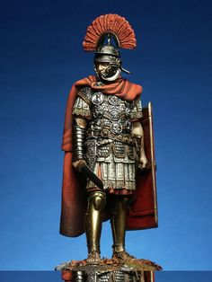 Roman Centurion, I A.D. The transverse crest on his helmet (crista transversa) helped his legionaries recognize him in the thick of battle.