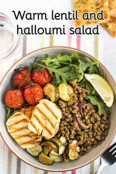 Warm lentil and halloumi salad - this vegetarian lunch is great to eat at any time of year. Plenty of yummy bits, and perfectly filling! #vegetarianlunch #vegetariansalad #wintersalad #warmsalad #lentilsalad #halloumisalad