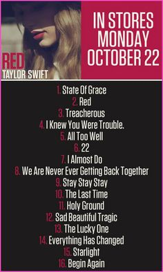 """Taylor Swift """"Red"""" Track List"""
