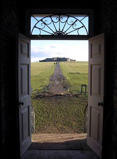 View from inside Mussenden Temple to the Ruins of Bishops Palace, Castlerock, County Londonderry