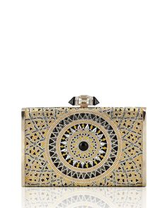 Tall Slender Rectangle Evening Clutch Bag, Champagne/Multi