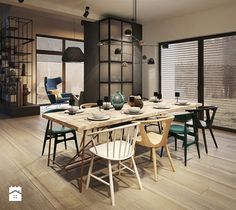 Colorful house: Loft style: masculine and elegant Dining Area, Dining Table, Living Spaces, Living Room, Interior Decorating, Interior Design, Loft Style, Industrial Chic, Decoration