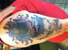 Bride of Frankenstein castle tattoo (I still need to add Frankenstein)