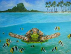 Bora Bora turtle Painting by Jennifer Belote - Bora Bora turtle Fine Art Prints and Posters for Sale