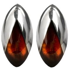 Sterling Silver Amber Large Clip Earrings