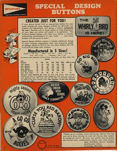 1968-69 Wincraft Catalog Page - 22 - Unlicensed Peanuts Buttons