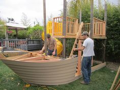 Play Houses and Playhouse Plans Pirate Ship Playhouse Scarlet Harlowok An outdoor wooden ship playset for children with a variety of adventure Kids Playhouse Plans, Outside Playhouse, Build A Playhouse, Woodworking Plans, Woodworking Projects, Woodworking Patterns, Woodworking Logo, Woodworking Furniture, Woodworking Beginner