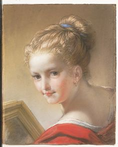 """Study of a Girl in Red"" by Benedetto Luti (1717) at the Metropolitan Museum of Art, New York - From the curators' comments: ""The sultry young model in red, her dark blond hair touched with butter-colored highlights, holds a picture or a mirror. With her direct glance, she is an unusually bold female type for Benedetto Luti."""