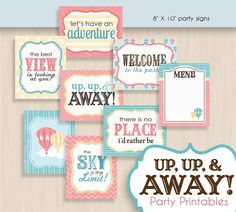 HOT AIR BALLOON Baby Shower Printable Package in Coral