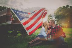 Country Engagement Photos 'Merica: Patriotic Wedding and Engagement Photos You'll Love - Want your wedding to be patriotic? Maybe you're marrying a solider? These couples learned the perfect tricks to putting patriotism at their weddings! Country Engagement Pictures, Engagement Photo Poses, Engagement Inspiration, Engagement Couple, Engagement Photography, Wedding Pictures, Fall Engagement, Engagement Shoots, Wedding Ideas