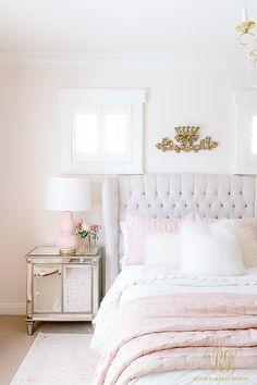 Black Gold Bedroom 3 Simple Ways to Add Pink to your Home - Randi Garrett Design Pink Bedroom Decor, Cozy Bedroom, Teen Bedroom, Bedroom Ideas, Cream And Pink Bedroom, Teen Girl Bedding, Girl Bedrooms, Bedroom Art, Bedroom Styles