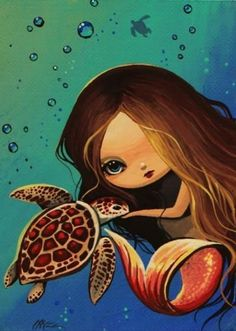 Google Image Result for http://www.ebsqart.com/Art/ACEO/acrylic-on-canvas-paper/682989/650/650/Little-Mermaid-and-Turtle.jpg