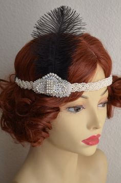 A beautiful headpiece made from pearls for that statement headband. Pictured: headband ships out 1 to 2 days from Ostrich Feathers, Ivory Pearl, Headpiece, 1920s, Ships, Pearls, Pictures, Handmade, Stuff To Buy