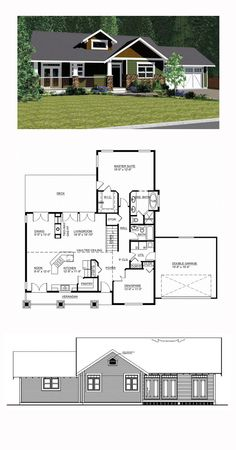Ranch Style COOL House Plan ID: chp-44492 | Total Living Area: 1537 sq. ft., 2 bedrooms and 2 bathrooms. #ranchhome