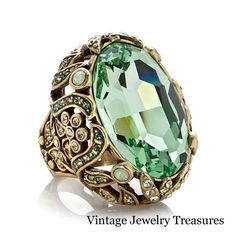 """Heidi Daus """"Dare to Wear"""" Green Crystal Accented Knuckle Ring Size 6 New HSN #HeidiDaus"""