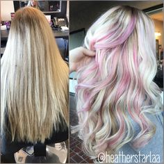 Platinum hair. Pastel pink peekaboos. Pastel pink hair. Long hair. Curled hair.