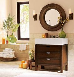 Feng shui bathroom tips - earth colors control water, keep beneficial effects in house.
