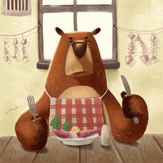 Bear dinner #illustration #ipad #procreate