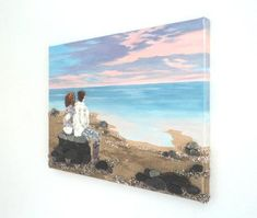 Couple on the Beach Wall Art, Couple by the Sea Painting, Gift for Couple, Beach Vacation Gift, Valentine Gift, Love Gift, Anniversary Gif Mosaic Wall Art, 3d Wall Art, Beach Wall Art, Couple Beach, Couple Art, Seahorse Art, Romantic Paintings, Online Gift, Craft Sale