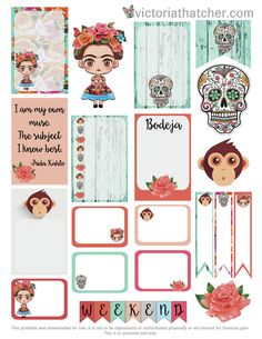 FREE Frida Kahlo Planner Printable by Victoria Thatcher Mehr Free Planner, Planner Pages, Happy Planner, Etiquette Vintage, Freebies, Printable Planner Stickers, Printable Labels, Free Printables, Planner Organization