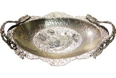 Hand-forged and hammered aluminum serving tray from the 1940s or '50s. Marked Rodney Kent.