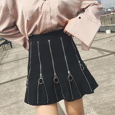 Women Harajuku Skirt Black Punk Zipper Dark Gothic Lolita Metallic Rock Umbrella A-lined Fashion Skirts High Waist All Match