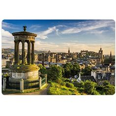 Cityscape Pet Mats for Food and Water by Ambesonne, Edinburgh Town Aerial View of Historical Buildings Heritage Panorama Art, Rectangle Non-Slip Rubber Mat for Dogs and Cats, Fern Green Blue Tan ** Click on the image for additional details. (This is an affiliate link) #DogFeedingWateringSupplies