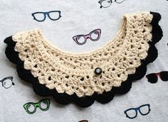 I saw a bunch of crochet collars at a craft fair. So cute...but I need a lesson on how to wear them!    (blog entry: one sheepish girl: Crochet Collar Obsessed!)