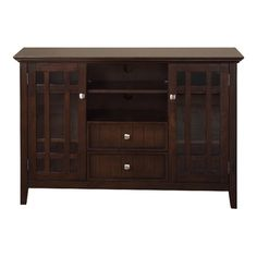 "Simpli Home BEDFORD TV Stand in dark tobacco brown (53""W x 16.5D x 35""H) -- $430"