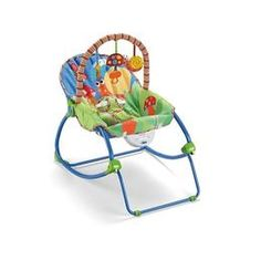 Fisher Price Garden Friends Infant to Toddler Rocker				  I like the bright colors and the hanging toys. I would have preferred pink, but there wasn't one at my store at the time.  It was a good investment when my daughter was an infant to about 4 months. She took short naps and I was able to feed her when she started cereal.