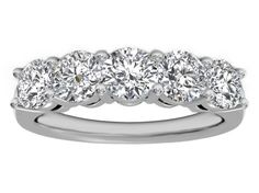 Five Stone Round Diamond Mutual Prong  Wedding Ring 1 carat TW