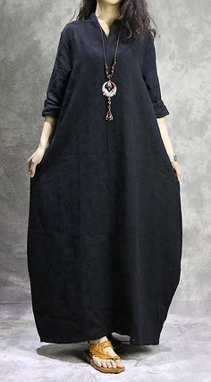 Unique black cotton Soft Surroundings Fashion Wardrobes jacquard loose spring DressCustom make service available! Please feel free to contact us if you want this dress custom made. Materials used:cotton linenMeasuremen Backless Maxi Dresses, Maxi Robes, Linen Dresses, Cotton Dresses, Casual Dresses, Abaya Mode, Mode Hijab, Short Beach Dresses, Spring Dresses