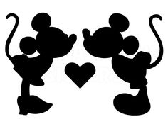 silhouette of mickey and minnie for champagne glasses