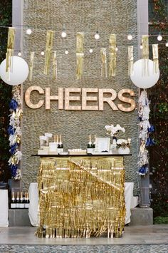 "Be Inspired PR Gold Glitter Party | theglitterguide.com I like the ""CHEERS"" behind the bar"
