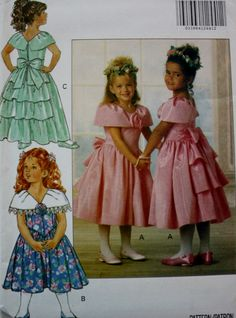 Girls Dress Sewing Pattern with Ruffled Collar Butterick 5936 Multiple Sizes by BluetreeSewingStudio on Etsy