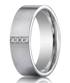 14K White Gold Men's Wedding Ring with Pave Set Diamonds | 8mm