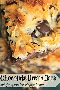 Chocolate Dream Bars ~ there are seven ingredients, all layered into a pan:  butter, graham cracker crumbs, chocolate chips, butterscotch chips, coconut, sweetened condensed milk, and nuts.