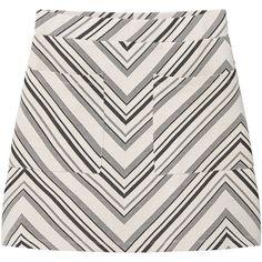 Printed Skirt (£20) ❤ liked on Polyvore featuring skirts, bottoms, elastic waist skirt, mango skirt, white knee length skirt, white skirt and patterned skirts