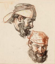 DEAN CORNWELL (American, 1892-1960). Two Portrait Sketches.Charcoal and pastel on paper.