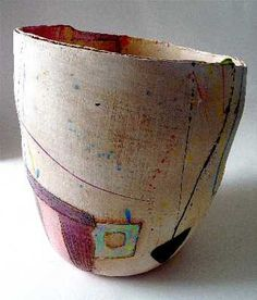 The New Craftsman Gallery   St. Ives   Cornwall - Linda Styles - Big pot with big red round interior (Linda Styles Ceramics)