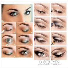 Makeup for hooded eyes? Makeup for hooded eyes? Eye Makeup Hooded Lids, Eyeshadow For Hooded Eyes, Smokey Eye Makeup, Makeup Blog, Makeup Tips, Beauty Makeup, Makeup Ideas, Makeup Inspiration, Makeup Tutorials