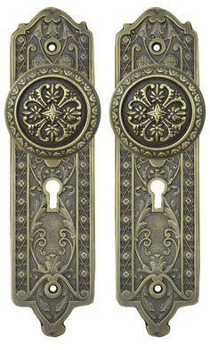 "single Pocket door plate per ea Victorian Brass Oval Beaded Edge 7/"" x 2 1//2/""w"