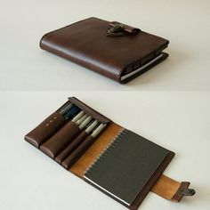 Your place to buy and sell all things handmade Leather Notebook, Leather Journal, Leather Wallet, Leather Bag, Cowhide Leather, Sketchbook Cover, Travel Sketchbook, Leather Projects, Pen Holders