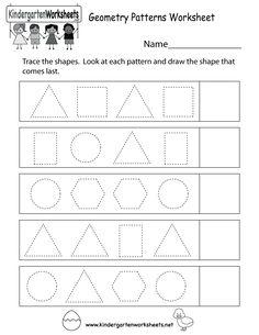 Kindergarten Geometry Patterns Worksheet Printable