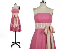 Short Strapless Pink Bridesmaid Dresses Beautiful Bow Prom Dresses Party Dresses 2014 Wedding Occasions